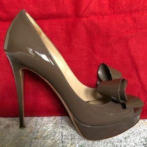 Valentino Patent Leather Bow Platform Heels